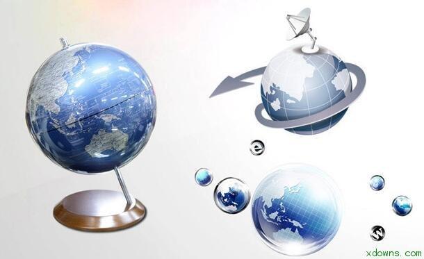 三张立体地球仪图标ppt素材